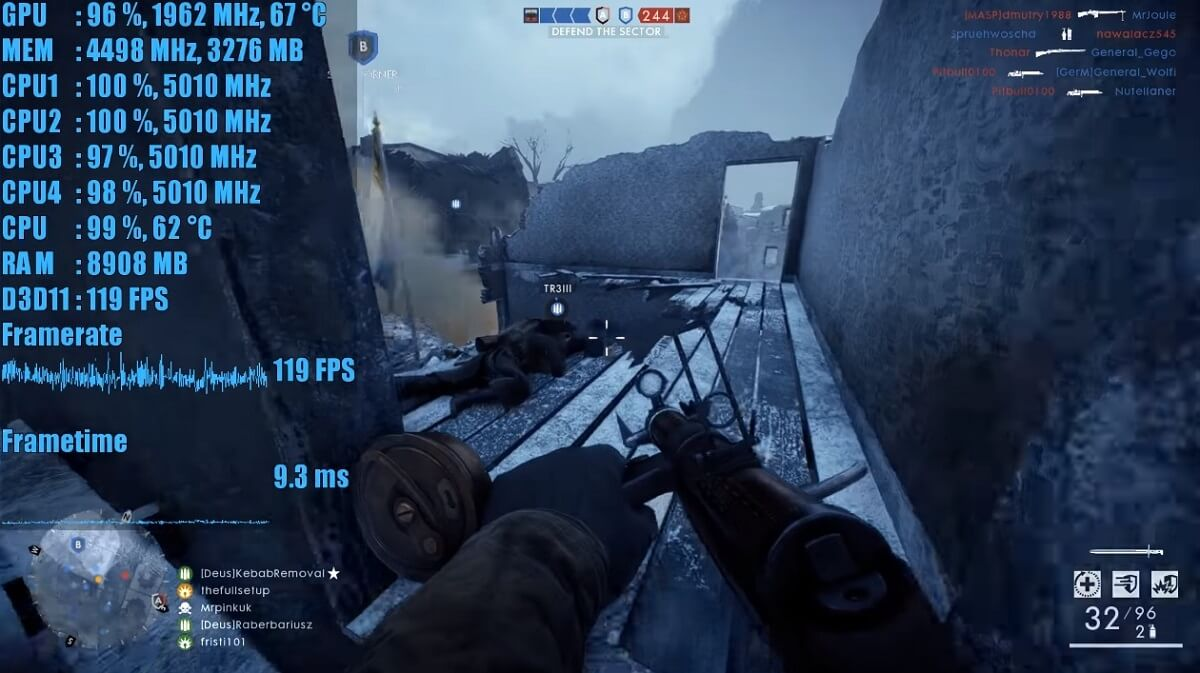 gaming fps battlefield 1 trên core i3-8350k